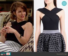 Caroline's striped midi skirt and black cross-neck top on The Bold and the Beautiful.  Outfit Details: https://wornontv.net/74062/ #TheBoldandtheBeautiful