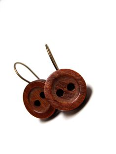 "Cute Wooden Earrings ""Maple Glazed Monday"" by ChatterBlossom via Etsy Rustic Jewelry, Wooden Jewelry, Wooden Beads, Wooden Earrings, Vintage Earrings, Button Earrings, Stud Earrings, Maple Glaze, Wooden Art"
