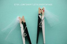 Custom Bridal Shower Favors - Wedding Favors - 30 Handpainted Clothespins - Marriage Couple
