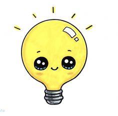 Light Bulb drawings of people Kawaii Girl Drawings, Cute Animal Drawings Kawaii, Cute Little Drawings, Cute Food Drawings, Cute Disney Drawings, Girly Drawings, Art Drawings For Kids, Cartoon Drawings, Arte Do Kawaii