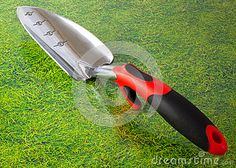 Photo about A closeup of a modern gardening trowel with a plastic handle. Image of tool, trowel, cultivation - 51254404