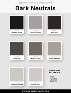 Designer Favorite Paint Colors - Benjamin Moore and Sherwin Williams House Color Schemes, House Colors, Gauntlet Gray, Agreeable Gray, Favorite Paint Colors, Paint Swatches, Grey Paint, Benjamin Moore, Warm Colors