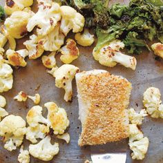 Pinhead Oat-Crusted Catfish, Roasted Cauliflower and Mustard Greens, and Lemon Cream