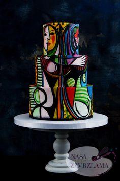 Girl before a Mirror Cake - Pablo Picasso - cake by Nasa Mala Zavrzlama Gorgeous Cakes, Pretty Cakes, Amazing Cakes, Silhouette Wedding Cake, 70th Birthday Cake, Hand Painted Cakes, Fondant, Big Cakes, Cupcakes