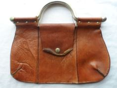 Vintage Distressed Brown Rugged Leather Purse Made in Italy for Lerner Shops
