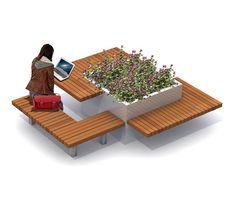 Planters-Benches with tables-Urban planters-Solid Meet & Work-Streetlife Urban Furniture, Street Furniture, Furniture Design, Plans Architecture, Landscape Architecture Design, Design D'espace Public, Urban Planters, Tree Planters, Planter Bench