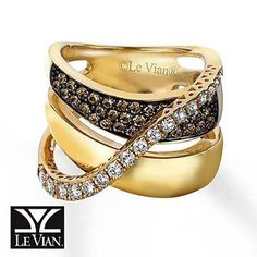 Chocolate Diamonds Ring 14K Honey Gold