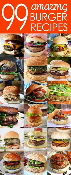 "99 Amazing Burger Recipes - including classic, international-inspired, vegetarian, vegan, and ""bird"" options plus tasty homemade condiments! Impress your girls with these awesome recipes! Yummy Recipes, Beef Recipes, Great Recipes, Cooking Recipes, Favorite Recipes, Grilled Hamburger Recipes, Great Burger Recipes, Tasty Burger, Burger Ideas"