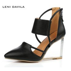 LENI DAVILA (Black, white, golden)2017 Women Fashion Crystal Heel Closed Toe Wedges Sandals Party Cover Heel Wedges shoes  #Affiliate