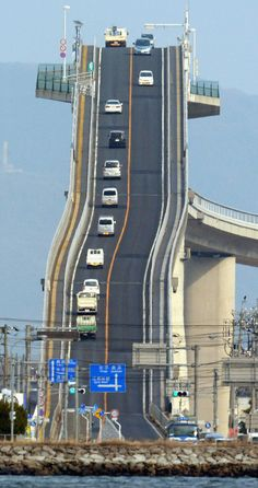We've seen truly terrifying bridges before, but nothing quite as scary-looking as the Eshima Ohashi Bridge in Japan.  The bridge, which connects the cities of Matsue and Sakaiminato, appears to go straight into the sky and suddenly drop off. Built high so that fishing boats can pass underneath, the structure fortunately isn't quite as steep as it looks.