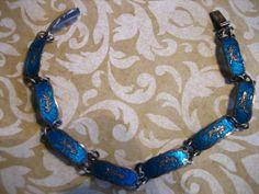 Vintage Sterling Silver Blue Enamel Siam Link by charmingellie, $38.00