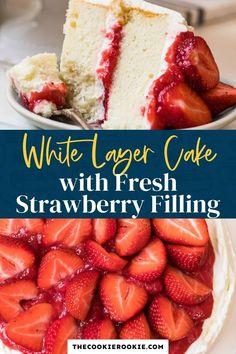 Strawberry Sheet Cakes, Strawberry Vanilla Cake, Strawberry Birthday Cake, Strawberry Topping, Cake With Strawberry Filling, Vanilla Cake With Strawberries, Strawberry Shortcake, Whipped Cream Icing, Cream Frosting