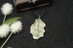 Elven leaf necklace polymer clay fantasy necklace leaf