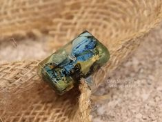 Blue and Black Statement Ring Made from Recycled Paint