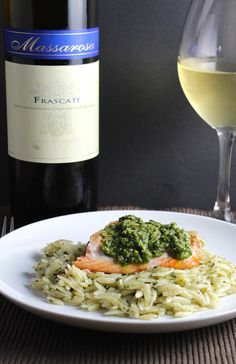 Orzo salmon and pesto combine for a flavorful summer meal that is perfect with an Italian white wine. Easy Salmon Recipes, Seafood Recipes, Wine Recipes, Cooking Recipes, Healthy Recipes, Orzo Recipes, Healthy Meals, Healthy Food, Healthy Eating
