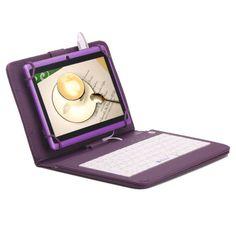 "iRulu 7"" 1024600 Google Android 4.4 Tablet PC 8GB Quad Core w/ Purple Keyboard"