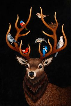 "Isabel Samaras ""Heavy Gretel"" opens on May 21 at Corey Helford Gallery Art And Illustration, Illustrations, Woodland Creatures, Magical Creatures, Deer Art, Moose Art, Modern Metropolis, Wow Art, Pop Surrealism"