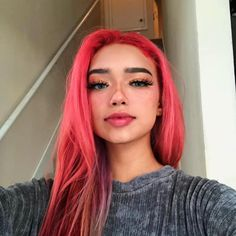 """👍🏼 I used in Electric Paradise, Poison, Porange, and Girls Night to get whatever the heck this is"""" ✨ Pretty Hair Color, Hair Color Pink, Hair Dye Colors, Pink Hair, Dye My Hair, New Hair, Short Grunge Hair, K Fashion, Aesthetic Hair"""