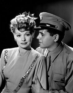 Lucille Ball and husband Desi Arnaz, a buck private in the Army. 1943✿<3