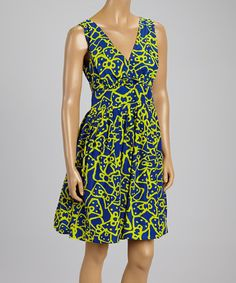Another great find on #zulily! Blue & Yellow Abstract Surplice Dress by Aryeh #zulilyfinds