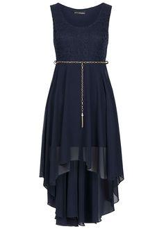 Styleboom Fashion Damen Kleid Vokuhila Spitze Gummizug mit Bindegürtel navy - 77onlineshop