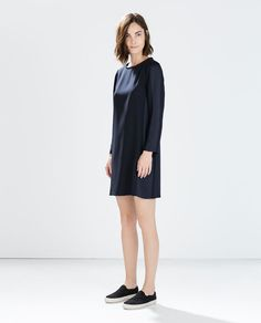 Image 1 of STRAIGHT-CUT CREPE DRESS from Zara (love this for you! Its on sale buy 2 lengthen skirt)