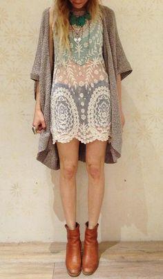 See-through Dress + Mauve Chunky Sweater