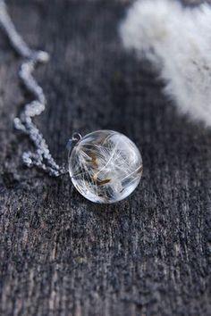 Collier avec pissenlit collier résine Orb Globe par UralNature