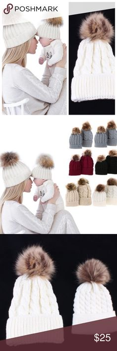 NEW Mom & Baby Matching Knit Hats-Ivory Mom & Baby Matching Knit Hats with fur Pom Pom! So adorable! Available in Ivory. Each set comes with 1 women's & 1 baby's hat. New in Package Boutique Listing.📦📦📦 * fall winter snow crochet beanie slouchy *Reminds me of Urban Outfitters Hudson Madewell Nordstrom Burberry J.crew Janie & Jack GAP Etsy ASOS Northface Under Armour*  🍍🍍🍍Bundle & Save with my other listings Boutique Accessories Hats