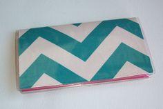 Checkbook Cover / Holder / Case  - Chevron - Zig Zag - ZigZag - Teal / blue / aqua. $5.50, via Etsy.