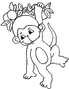 A printable monkey mask to use to make a stick puppet Color and