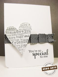 Love the ruffled ribbon on this handmade card! Stamps by Hero Arts Mom-We should make something like this :]