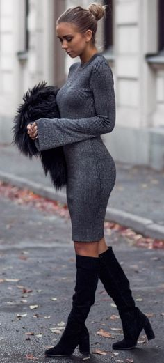Lisa Place Gray And Glitter Fall Street Style women fashion outfit clothing stylish apparel @roressclothes closet ideas