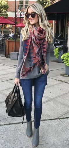 casual fall   bag + grey sweater + printed scarf + skinny jeans + boots