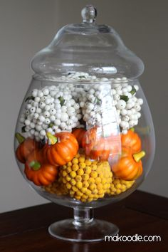 """Simple & Classy   """"Candy Corn"""" Apothecary Jar  I'm totally """"in"""" to decorating with apothecary jars for holidays.  I think they are a great way to keep make your decor classy.  They also help foster creativity because I get to think of new ideas of what to put into my apothecary jars each holiday."""