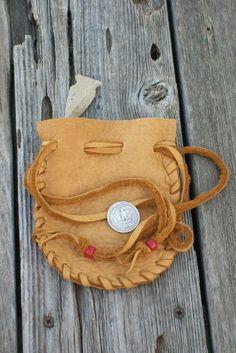 Leather pouch Drawstring medicine bag Buckskin leather crystal bag. $8.00, via Etsy.