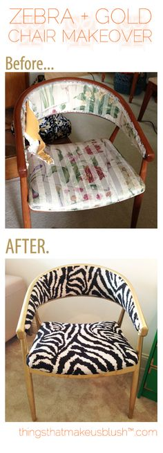 NEW POST on ThingsThatMakeUsBlush.com     Chair Makeover: Zebra + Gold