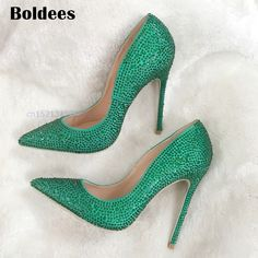 Hot Sale Thin High Heels Woman Sexy Pointed Toe Pumps Green Crystal Rhinestone Lady Party 12cm Heeled Dress Shoes Pumps-in Women's Pumps from Shoes on Aliexpress.com | Alibaba Group
