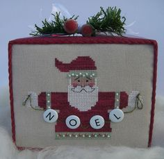 Cross Stitched Santa with Noel Banner