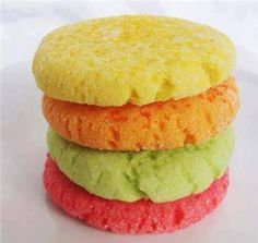 JELLO COOKIES  Ingredients:  3/4 c butter 1/2 c sugar - can substitue Stevia  3 oz (85 g) pack of any flavor jello 2 eggs 1 tsp vanilla 2 1/2 c flour 1 tsp baking soda 1 tsp salt.  Directions:  Cream butter, sugar, jello and eggs. Mix in rest of ingredients well, roll into balls and place on greased cookie sheet. Flatten with fork. Bake for 6-8 min at 350