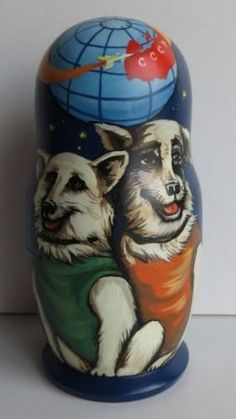 5 PCS-Astronaut BELKA-STRELKA Dog Space DOGS FIRST USSR Nesting Dolls Very RARE