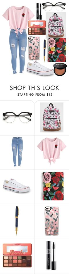 """Back to School Outfit"" by leah-330 ❤ liked on Polyvore featuring JanSport, WithChic, Converse, Vera Bradley, Visconti, Casetify, Too Faced Cosmetics, Christian Dior and NYX"