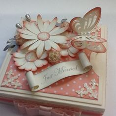 Exploding wedding box, with stampin up crisp cantaloupe, and blossom party die.