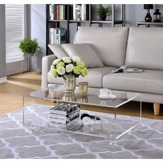 Acrylic 2 Tier Coffee Table - 19643242 - Overstock - Great Deals on Coffee, Sofa & End Tables - Mobile Clear Coffee Table, Lucite Coffee Tables, Coffee Table Styling, Coffee Table Design, Decorating Coffee Tables, Modern Coffee Tables, Pine Coffee Table, Modern Table, Living Room Furniture