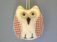 Felt Owl Ornament   Red Check by purrfectpresent on Etsy, $4.00