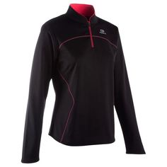 4f5334fe4a915 Deporte Running Ropa - Camiseta térmica de running mujer Kalenji Ekiden  negra y rosa KALENJI -