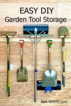 Outdoor Tool Storage, Outdoor Tools, Garden Tool Shed, Garden Tool Storage, Yard Tool Storage Ideas, Ana White, Storage Shed Organization, Workshop Organization, Garage Storage