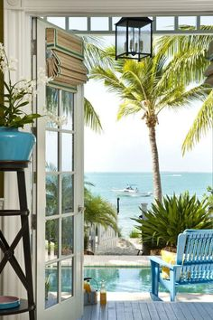 Beautiful waterfront view patio. I really love French doors.