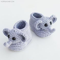 Ellie The Elephant Crochet Baby Booties | AllFreeCrochet.com