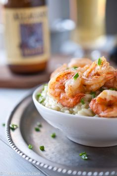 Avocado Risotto with Beer Butter Shrimp